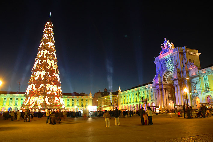 Christmas decorations on the Praça do Comércio